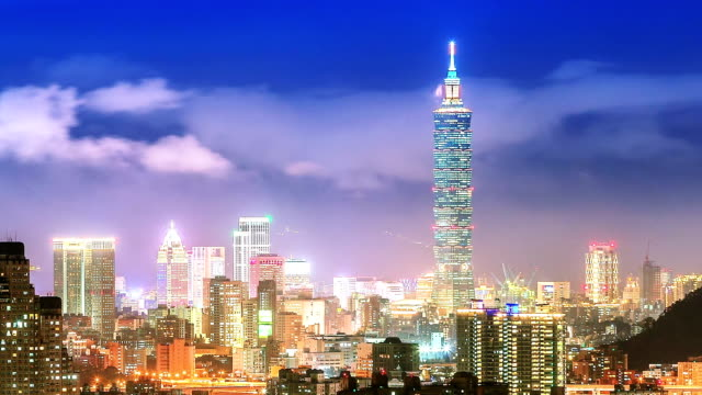 city of taipei at night - taipei stock videos & royalty-free footage