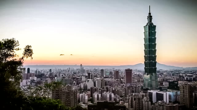 city of taipei at sunset - taipei stock videos & royalty-free footage
