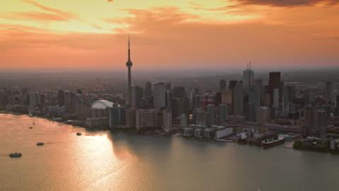 aerial city of toronto, ontario at sunset - dramatic sky stock videos & royalty-free footage