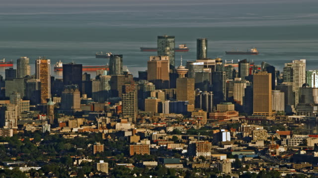 aerial city of vancouver in early morning light - morning stock videos & royalty-free footage