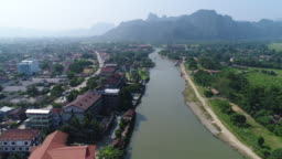 City of Vang Vieng in Laos from the sky