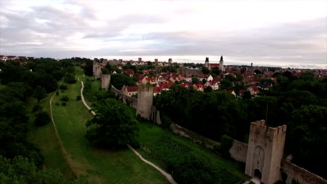 aerial: city of visby, gotland - surrounding wall stock videos & royalty-free footage