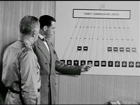 vídeos de stock e filmes b-roll de city official' showing 'colonel' chart of emergency services & mobile markers, introducing 'jack' head console operator to 'colonel'. civil defense... - anticomunismo