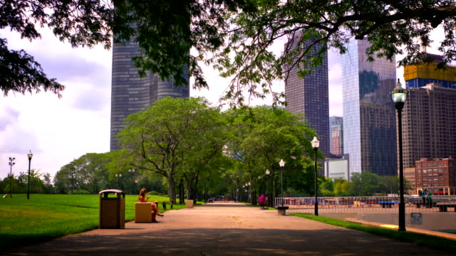 city park and business district - public park stock videos & royalty-free footage