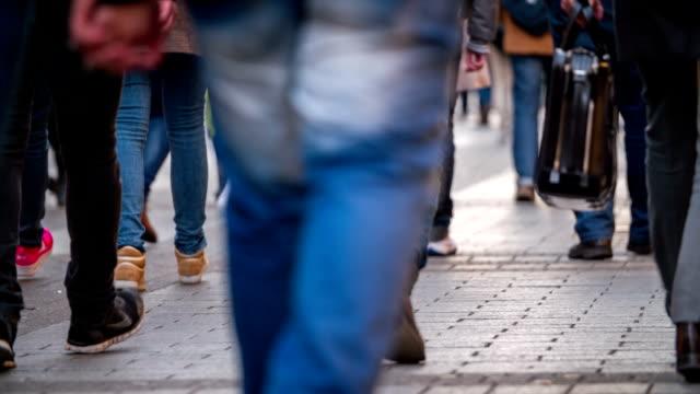 City People Walking In Shopping Street Slow Motion