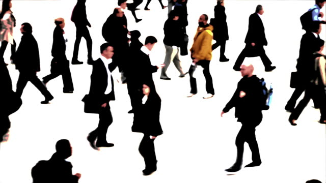 city people walking (abstract) - weißer hintergrund stock videos & royalty-free footage