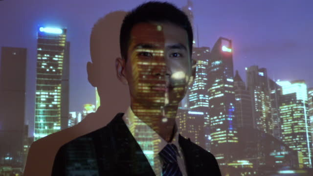 City projection on businessman face