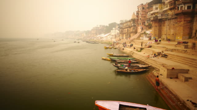 City river bank with ghats