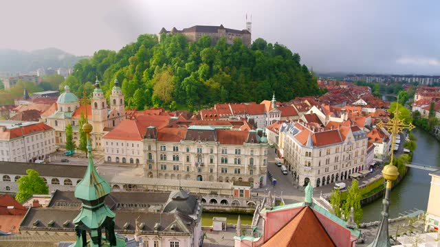 city scape ljubljana old town center castle hill. video footage with high quality 4k drone stock video - slovenia stock videos & royalty-free footage