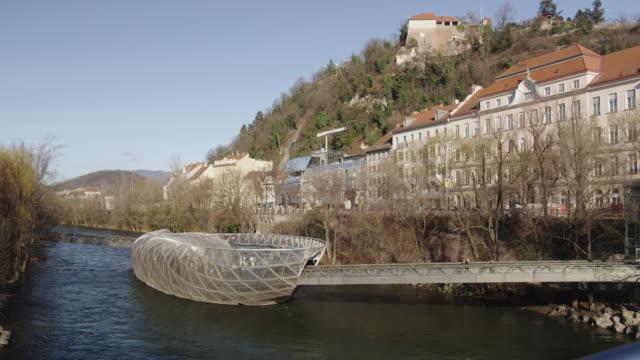city scenes of graz, austria - floating moored platform stock videos & royalty-free footage