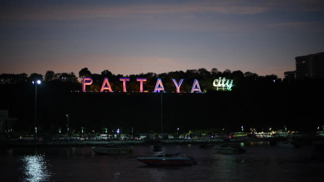 pattaya city sign - chonburi province stock videos & royalty-free footage