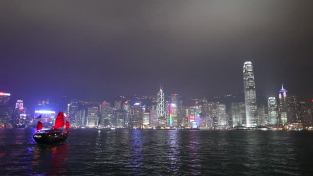 vidéos et rushes de ws city skyline across victoria harbour at night, junk ship with red sails crossing harbor/ hong kong, china - jonque