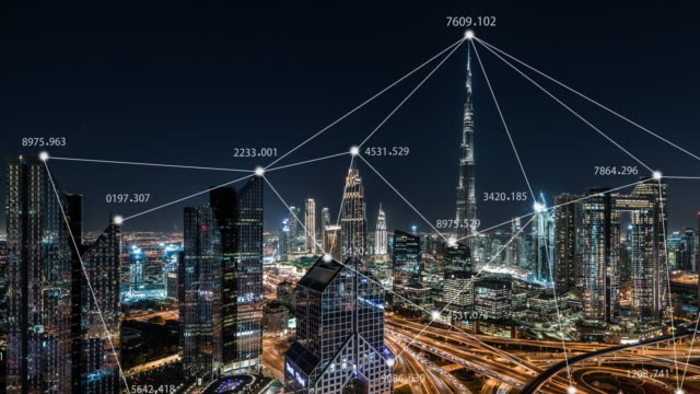 t/l pan city skyline and 5g network concept, from day to night / uae - big tech stock videos & royalty-free footage