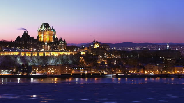 WS T/L City skyline and Chateau Frontenac from day to night / Quebec City, Quebec, Canada
