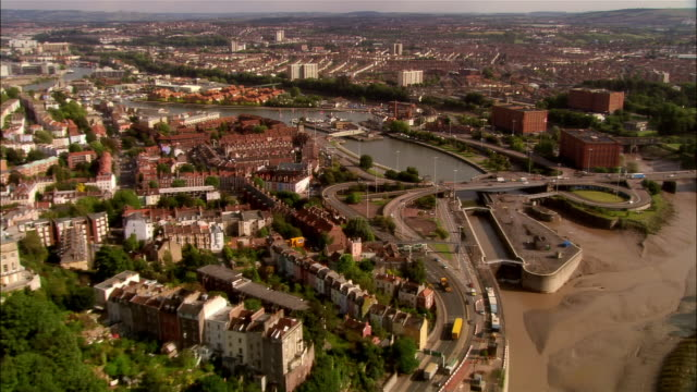 aerial, city skyline and commercial docks, bristol, england - bristol england stock videos & royalty-free footage