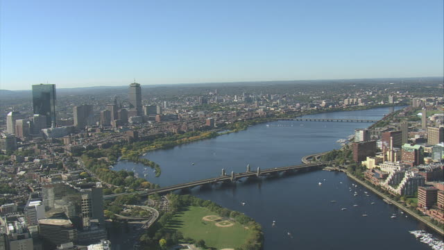 aerial city skyline and the charles river / boston, massachusetts, united states - river charles stock videos & royalty-free footage