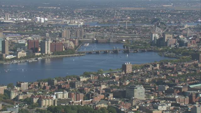AERIAL City skyline and the Charles River with Longfellow Bridge / Boston, Massachusetts, United States