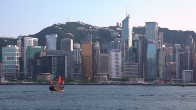 city skyline and victoria harbour, hong kong, china - victoria harbour hong kong stock videos and b-roll footage