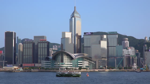city skyline and victoria harbour, hong kong, china - central plaza hong kong stock videos & royalty-free footage