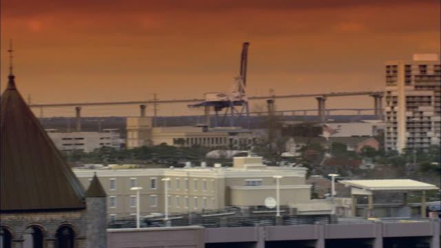 PAN City skyline and waterfront beyond at sunset / North Charleston, South Carolina, United States