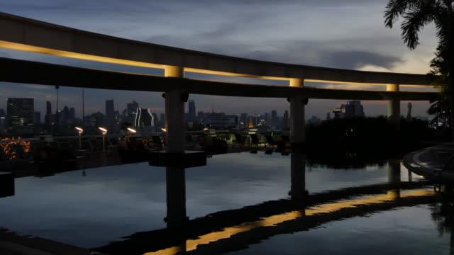 city skyline at dusk, bangkok, thailand, southeast asia, asia - infinity pool stock videos & royalty-free footage