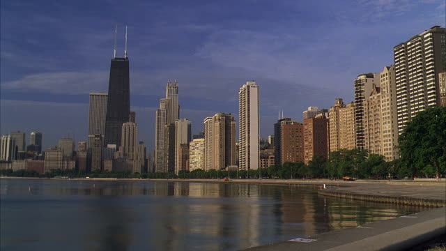 ms, city skyline by lake, chicago, illinois, usa - great lakes stock videos & royalty-free footage