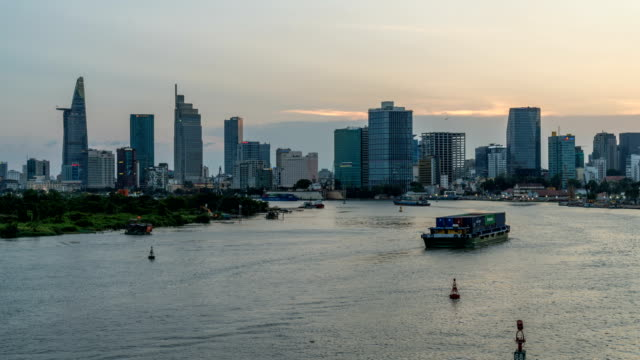 ho chi minh city skyline day to night time lapse - ho chi minh city stock videos & royalty-free footage