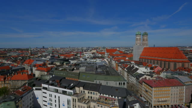 City skyline dominated by the Frauenkirche towers, from the City Hall tower, Munich, Bavaria, Germany, Europe
