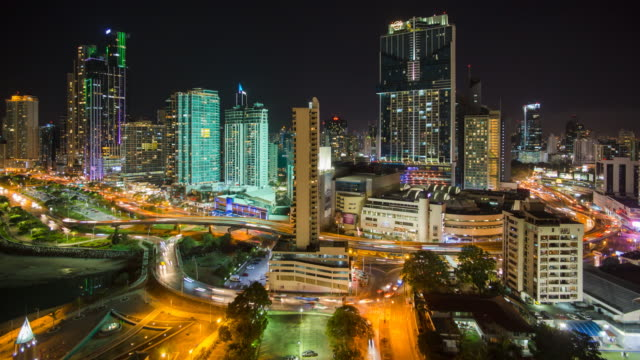 City skyline illuminated at night, Panama City, Panama, Central America