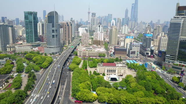 city skyline in shanghai, china, aerial - south east asia stock videos & royalty-free footage