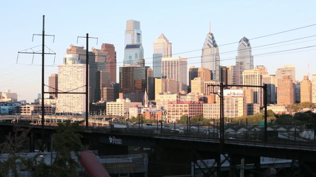 ws city skyline including the comcast center, bell atlantic tower, and one and two liberty place buildings / philadelphia, pennsylvania, united states - center city philadelphia stock videos and b-roll footage