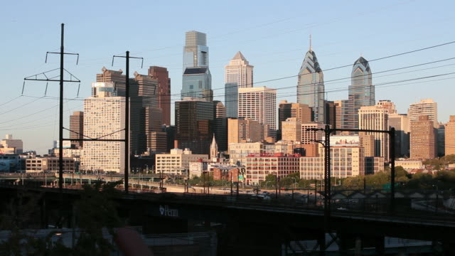 ws city skyline including the comcast center building, bell atlantic tower and one and two liberty place buildings / philadelphia, pennsylvania, united states - center city philadelphia stock videos and b-roll footage