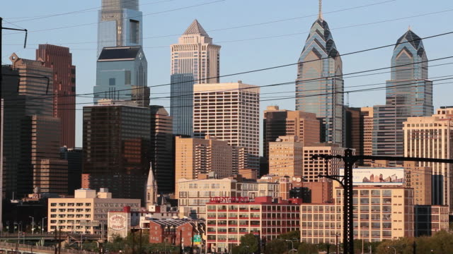 ws city skyline including the comcast center building, liberty place buildings, and the bell atlantic tower / philadelphia, pennsylvania, united sates - center city philadelphia stock videos and b-roll footage