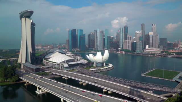 city skyline, marina bay, singapore, south east asia - sydostasien bildbanksvideor och videomaterial från bakom kulisserna