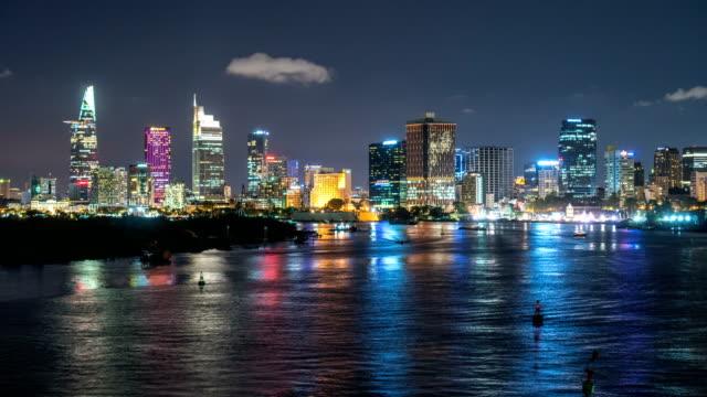 ho chi minh city skyline night time lapse - vietnam stock videos & royalty-free footage