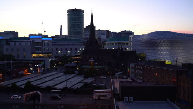 city skyline of birmingham at dusk - birmingham england stock videos & royalty-free footage