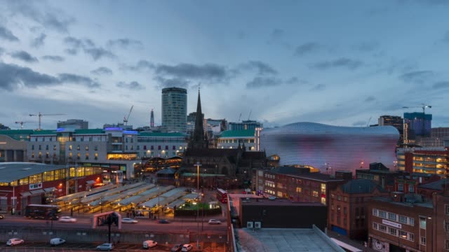 city skyline of birmingham, day to night, time-lapse - birmingham england stock videos & royalty-free footage