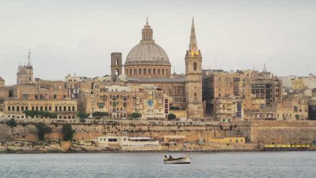 city skyline of valletta, malta - unesco world heritage site - valletta stock videos & royalty-free footage