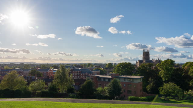 city skyline of worcester in worcestershire, uk - 4k time-lapse - basilica stock videos & royalty-free footage
