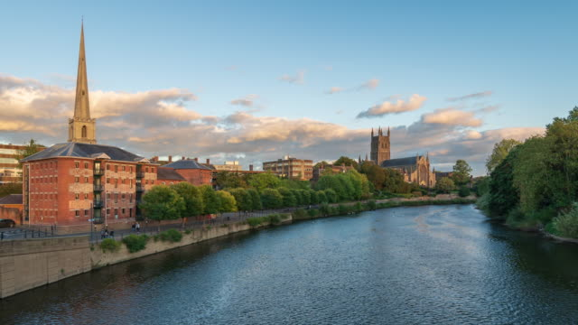 city skyline of worcester with worcester cathedral and river severn in worcestershire, uk - 4k time-lapse - basilica stock videos & royalty-free footage