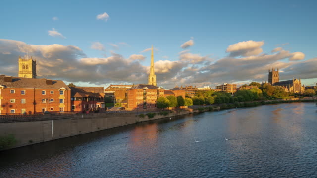 city skyline of worcester with worcester cathedral in worcestershire, uk - 4k time-lapse - basilica stock videos & royalty-free footage