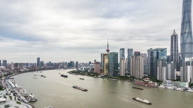 t/l ws ha pan city skyline / shanghai, china - jin mao tower stock videos & royalty-free footage
