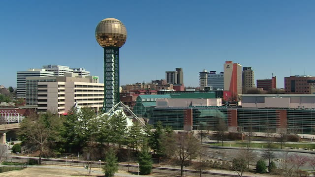 city skyline shots of knoxville tennessee featuring sunsphere tower - tennessee stock videos & royalty-free footage