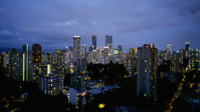 City skyline view in Vancouver Canada at dusk