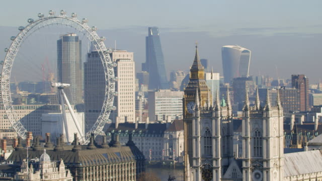 ws pan city skyline / westminster, london, england, united kingdom - millennium wheel stock videos & royalty-free footage