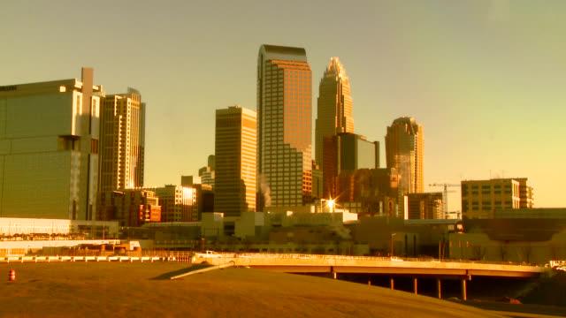 City skyline with amber tint of Charlotte North Carolina USA