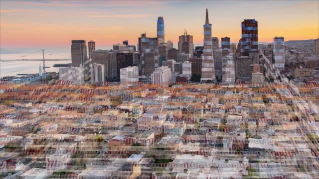 city skyline with digital grid - three dimensional stock videos & royalty-free footage