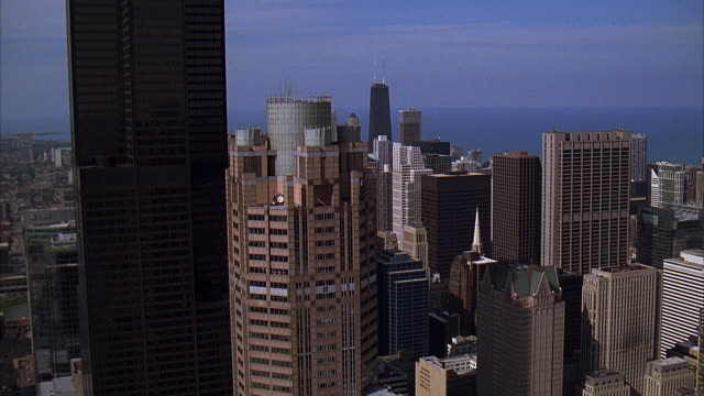 ms, ha, city skyline with hanock building, chicago, illinois, usa - great lakes stock videos & royalty-free footage