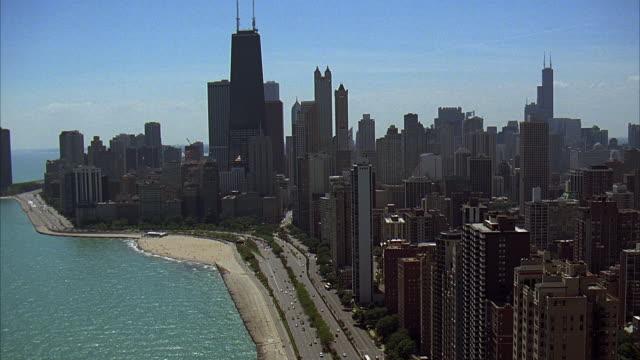ws, ha, city skyline with hanock building, chicago, illinois, usa - 2005 stock videos & royalty-free footage