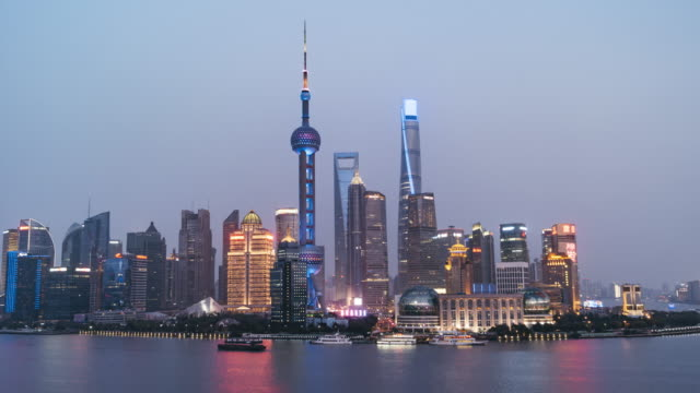T/L WS ZO City Skyscrapers, Day to Night Transition / Shanghai, China